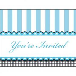Einladungskarten blau 8 Stück