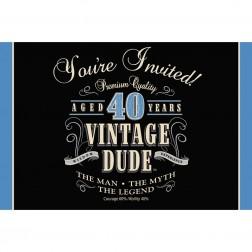 Einladungskarten 40. Geburtstag Vintage Dude 8Stück