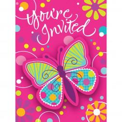 Einladungskarten Schmetterling 8 Stück