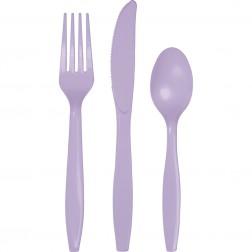 Plastikbesteck Lavendel 24Teilig