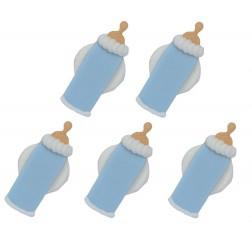 Zuckerdekor Flasche Blau 5 Stück