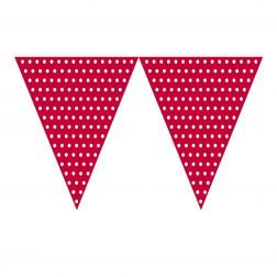 Flaggen Banner Polka Dots rot, weiß 2,74m