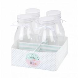 Milchflasche mit Satinband 4 Stück