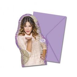 Einladungskarten Violetta 6 Stück
