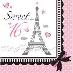Sweet 16 Servietten Party in Paris 16 Stück