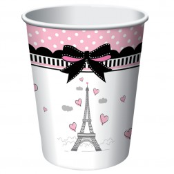Pappbecher Party in Paris 8 Stück