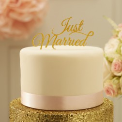 Just Married Tortendeko Topper Gold