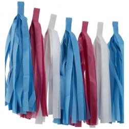 Quastengirlande pink, weiß, blau 2,5m