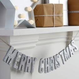 Merry Christmas Buchstaben Girlande Silber Metallic 70 cm