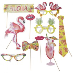 Photo Booths Set Sommer Party - Flamingo Fun 10 Props