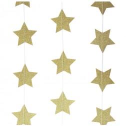 Girlande Glitter Sterne Pastel Perfection gold 5m