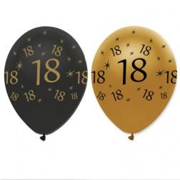 Luftballons Black Gold 18. Geburtstag 6 Stück