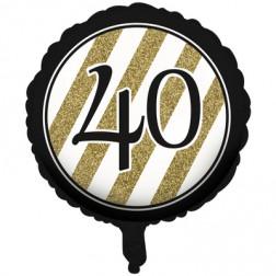 Folienballon Black Gold 40. Geburtstag