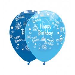 Happy Birthday Ballons Blau 6 Stück