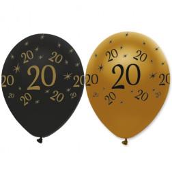 Luftballons 20. Geburtstag Black Gold 6 Stück