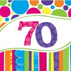 Servietten 70. Geburtstag Bright & Bold 18 Stück