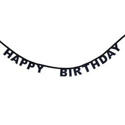 Happy Birthday Buchstaben Banner Schwarz 1,85m