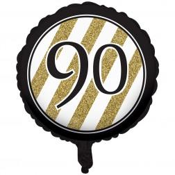 Folienballon Black Gold 90. Geburtstag