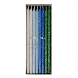 Kerze Weiß Blau Grün Mint 24 Stück 14cm