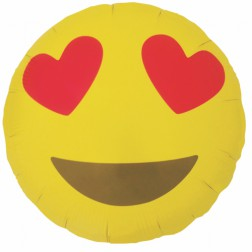 Folienballon Emoji Heart Eyes 46cm