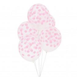 Luftballon durchsichtig mit rosa Punkten 5 Stück