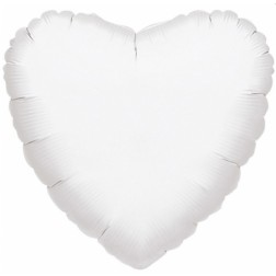 Jumbo Folienballon Herz metallic weiß 90cm