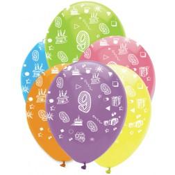 Luftballons Zahl 9 bunt 6 Stück