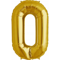 Folienballon Symbol 0 gold 86cm