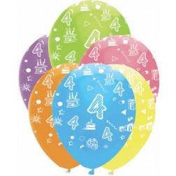 Luftballons Zahl 4 bunt 6 Stück