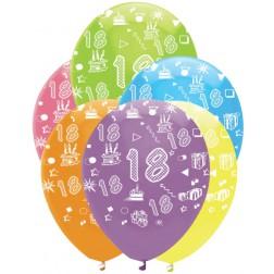 Luftballons Zahl 18 bunt 6 Stück