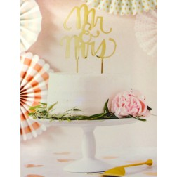 Fancy Cake Topper Mr & Mrs Gold