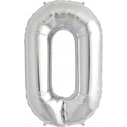Folienballon Symbol O silber 86cm