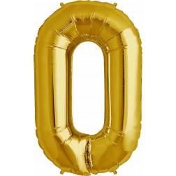 Air Folienballon Symbol 0 gold 41cm