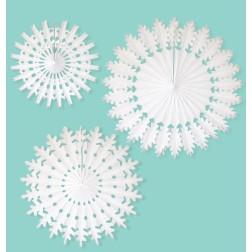 Rosetten Schneeflocken weiß 3 Stück
