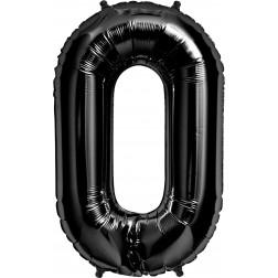 Folienballon Symbol 0 schwarz 86cm