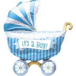 Folienballon Kinderwagen blau 102cm