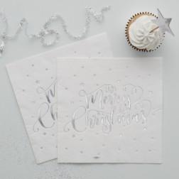 Servietten Merry Christmas silber 20 Stück