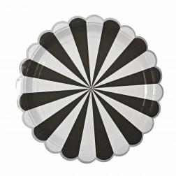 Pappteller Black Stripe 8 Stück