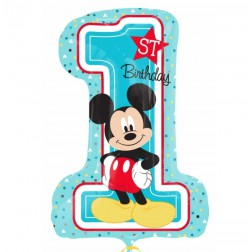 Folienballon Mickey Mouse 1st Birthday blau 71cm