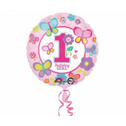 Folienballon Schmetterling 1th Birthday girl 43cm