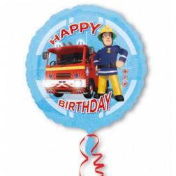 Folienballon Fireman Sam Happy Birthday 43cm