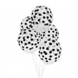 Luftballon durchsichtig mit schwarze Punkten 5 Stück