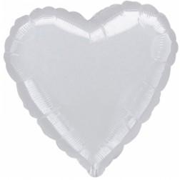 Folienballon Jumbo Herz Silber 90cm