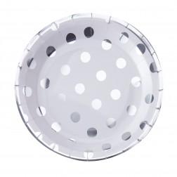 Pappteller Polka Dots Silber 8 Stück
