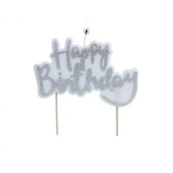 Kerze Glitter Happy Birthday Silver 10cm