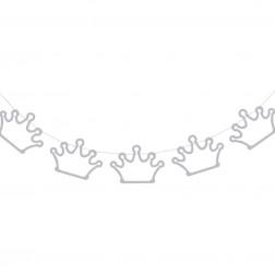 Girlande Silver Glitter Krone 2m