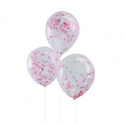 Luftballons mit Konfetti rosa 5 Stück