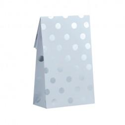 Papiertüten Polka Dots weiß Silber 8 Stück