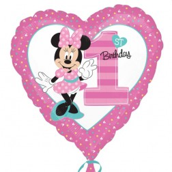 Minnie 1st Birthday Folienballon Herz 43cm