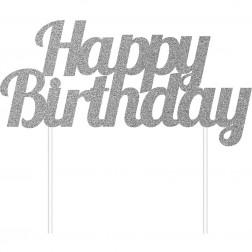 Topper Happy Birthday Silber